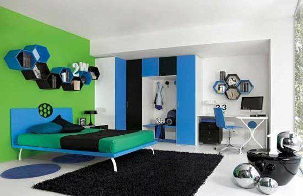Schlafzimmer Modern Einrichten Jugendzimmer Grün Wand