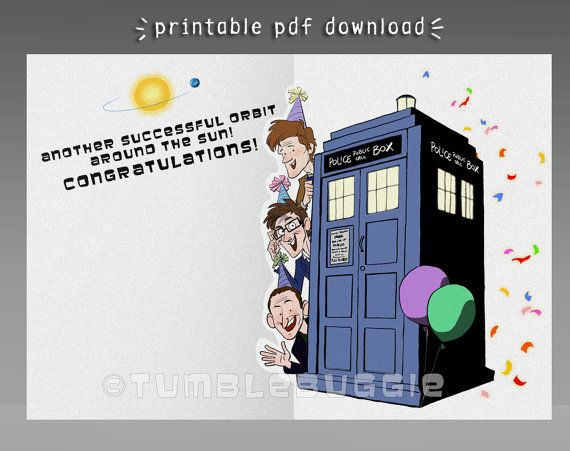 Doctor Who Anniversary Card Or Birthday Card For By Tumblebuggie