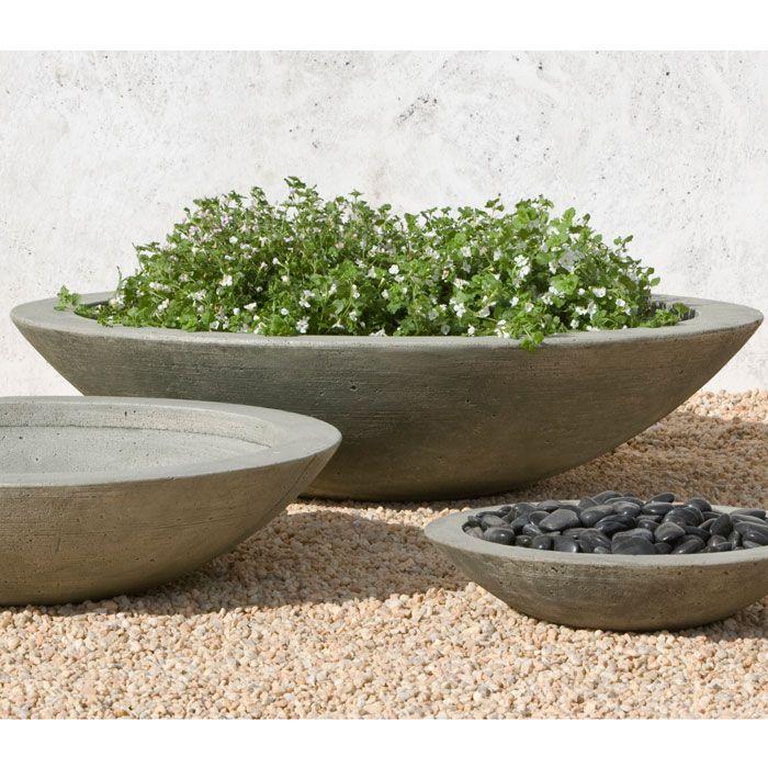 Low Zen Large Cast Stone Bowls For