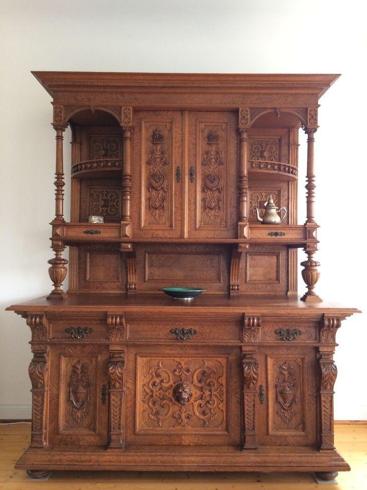 antikes buffet schrank aus der gr nderzeit mit aufsatzschrank und anrichte antiquit ten. Black Bedroom Furniture Sets. Home Design Ideas