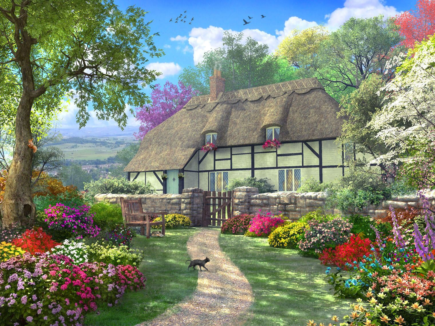 Artstation Dreamy Country Cottage Dominic Davison Cottage Art Cottage Wallpaper Boat Wallpaper