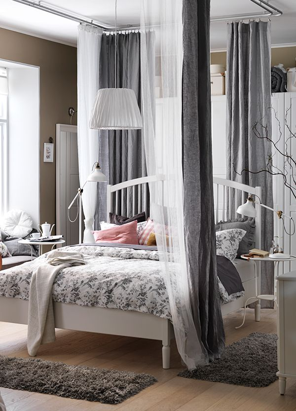 Add soft & flowy IKEA textiles like curtains, sheets and