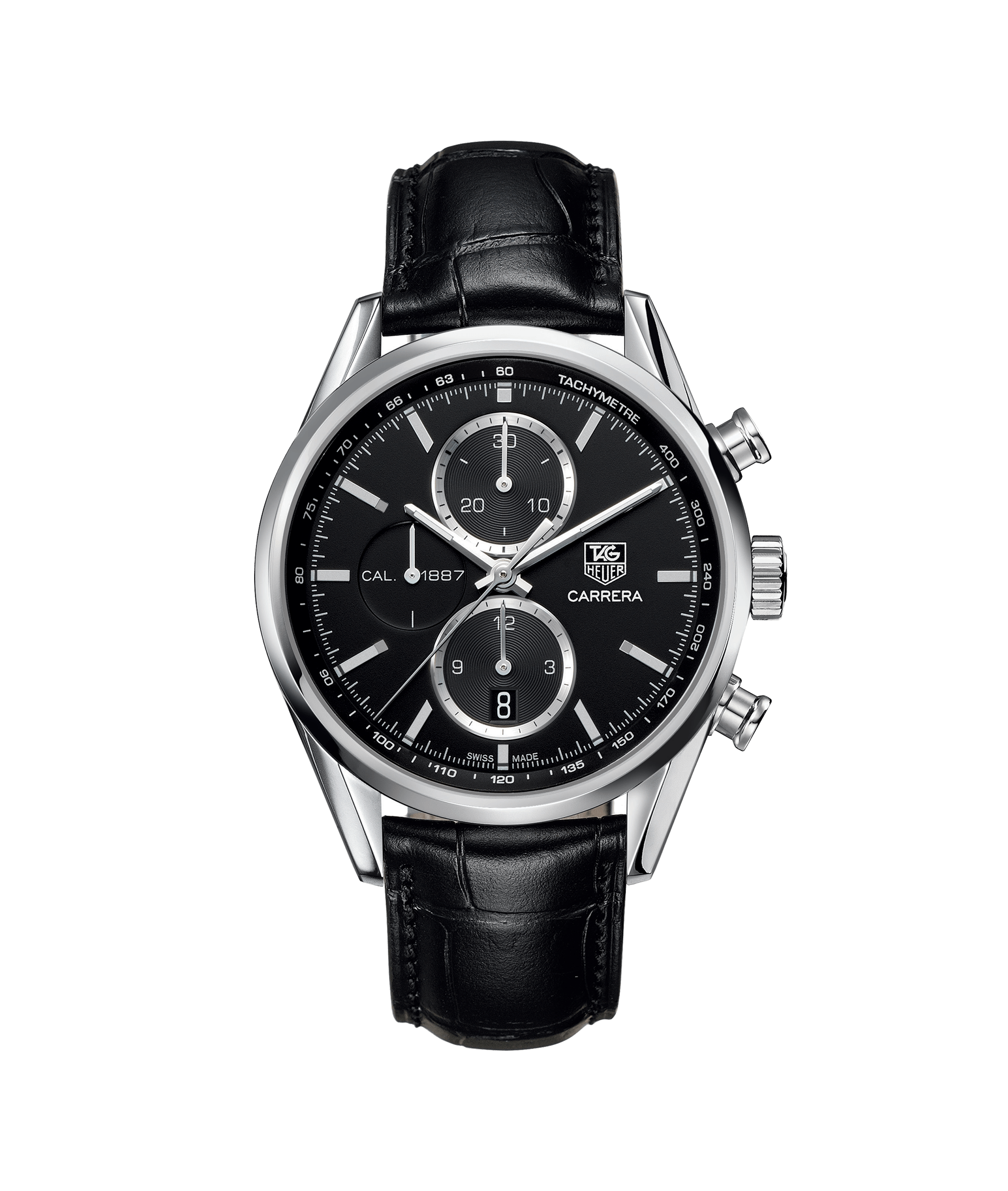 c740b3f9be614 This motor-inspired watch has a stainless steel case on a stylish black  alligator leather strap. The black dial features luminescent indexes, a  Grande Date ...