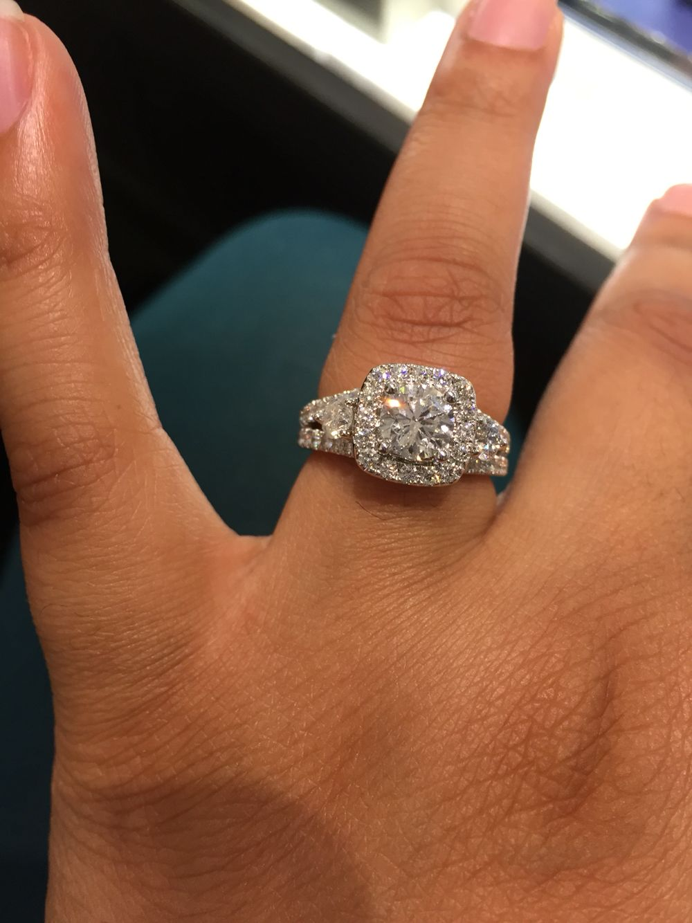 Zales Cushion Cut Halo Grand Celebration Engagement Ring $12,000