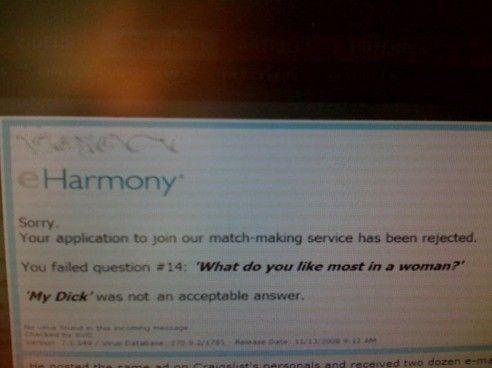 eHarmony application FAIL