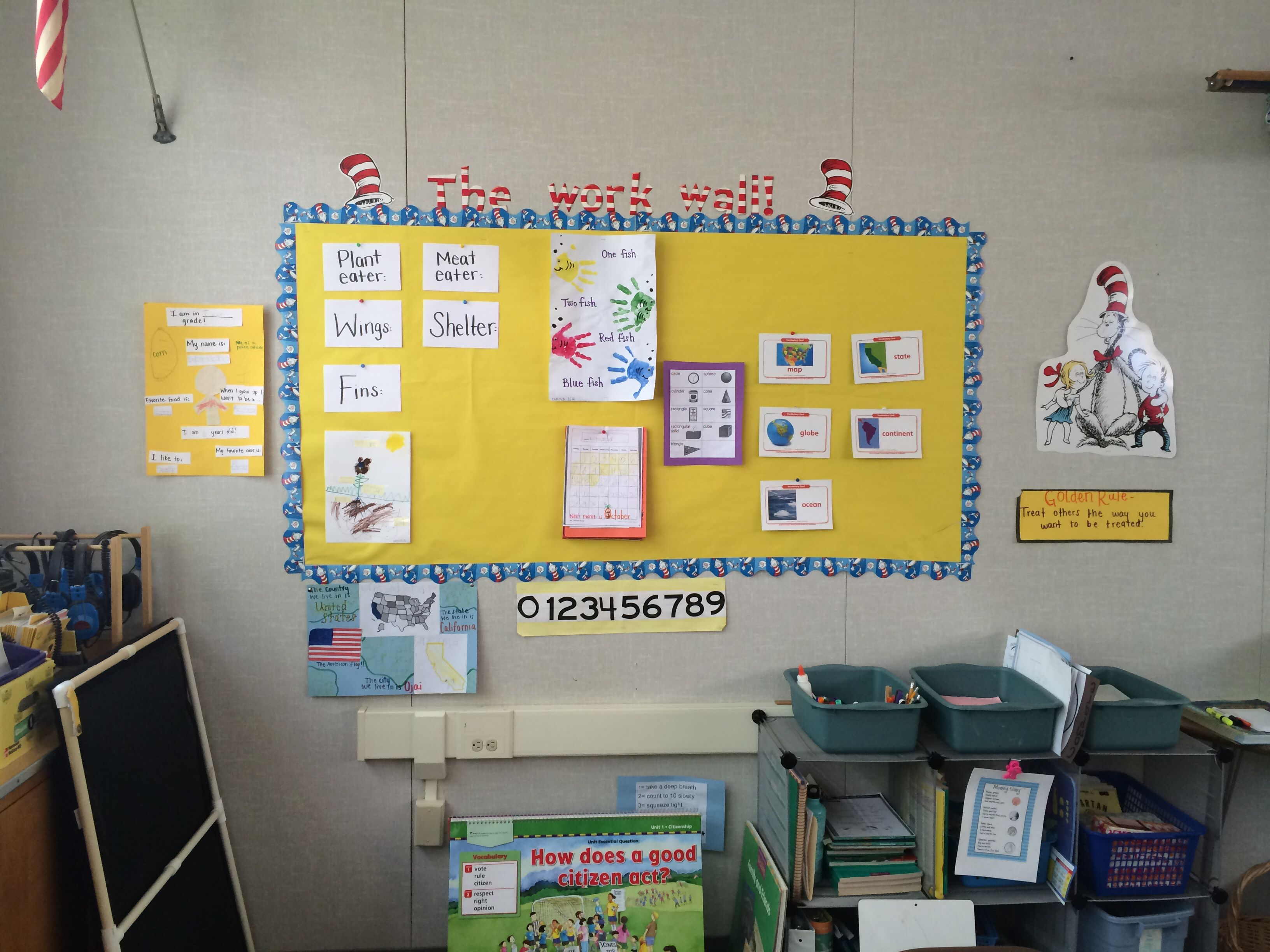 """Dr. Suess themed classroom! Love my class! I use it at as """"the work wall"""" #drsuess #theme #teacher #class #kindergarden #firstgrade"""