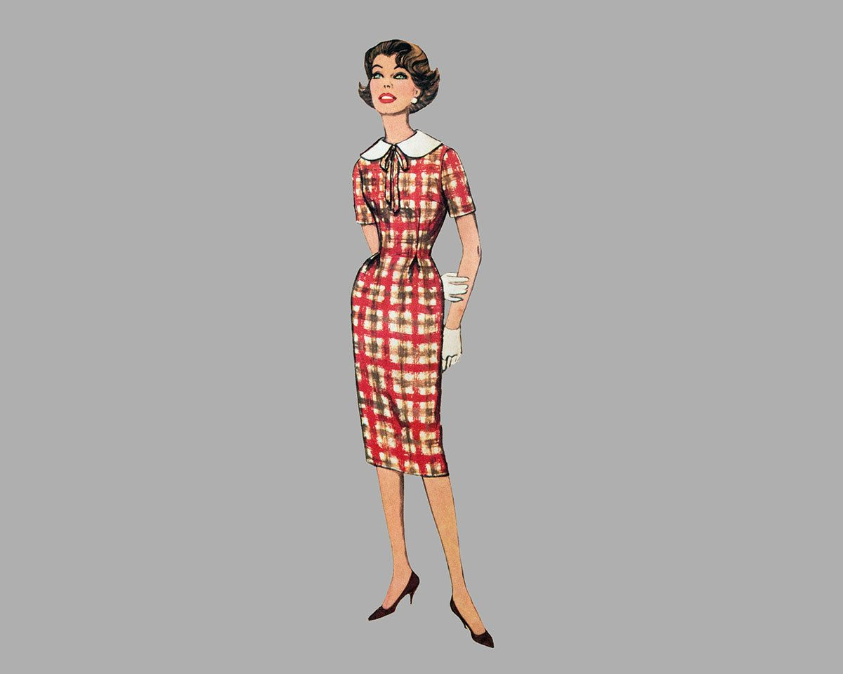 1959 Sheath Dress pattern Simplicity 3065 Includes scarf Bust 34, Detachable collar, Soft waistline pleats, 3 quarter or short sleeves UNCUT by knightcloth on Etsy
