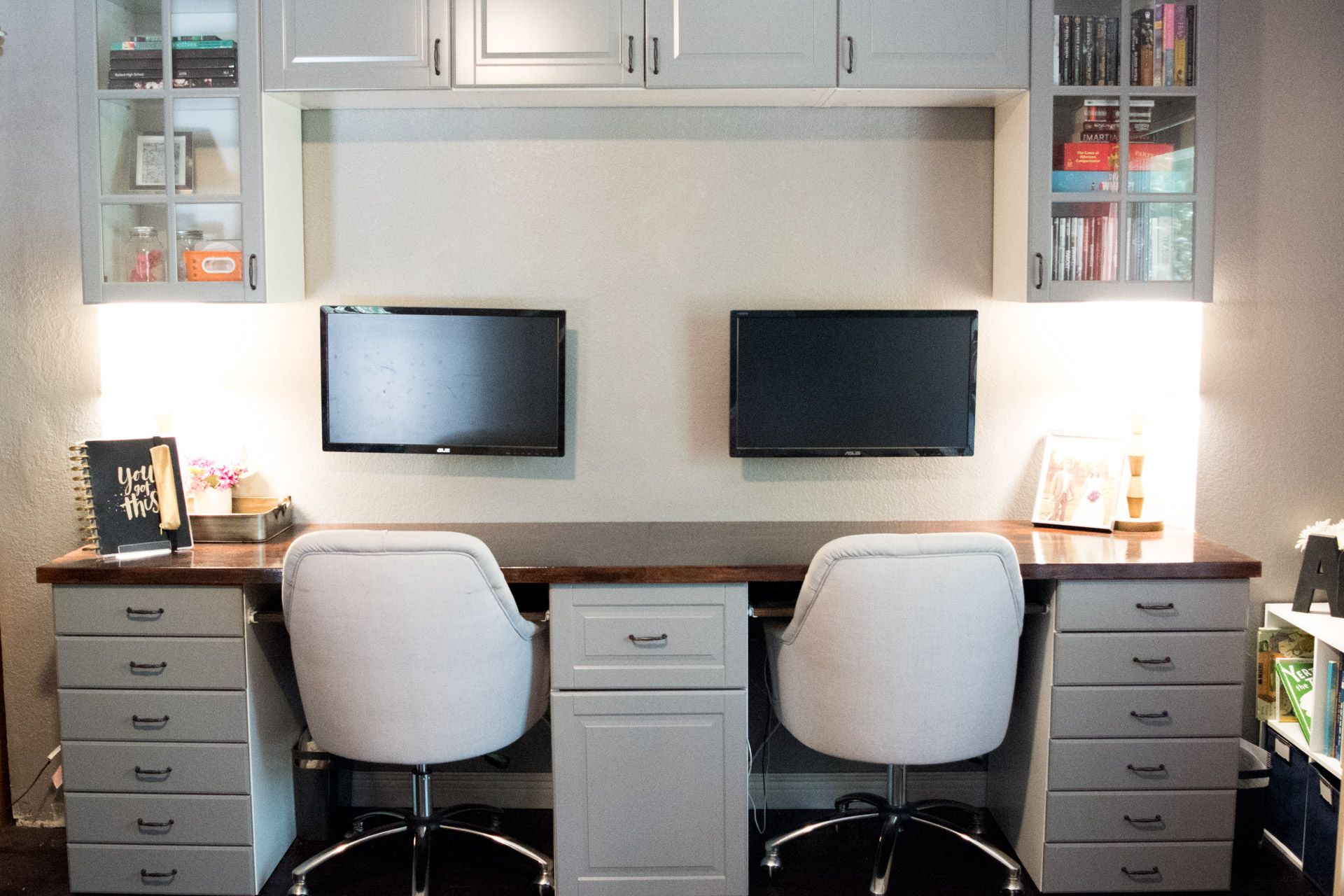 How To Make A Desk From Kitchen Cabinets Part Two Diy Without Fear In 2020 Custom Desk Home Desk