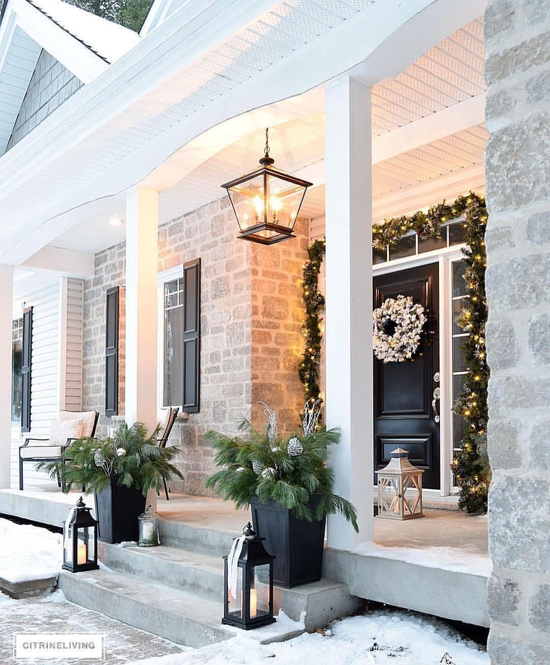 Outdoor porch christmas decorations  k Likes  Comments  Interior Design u Home Decor