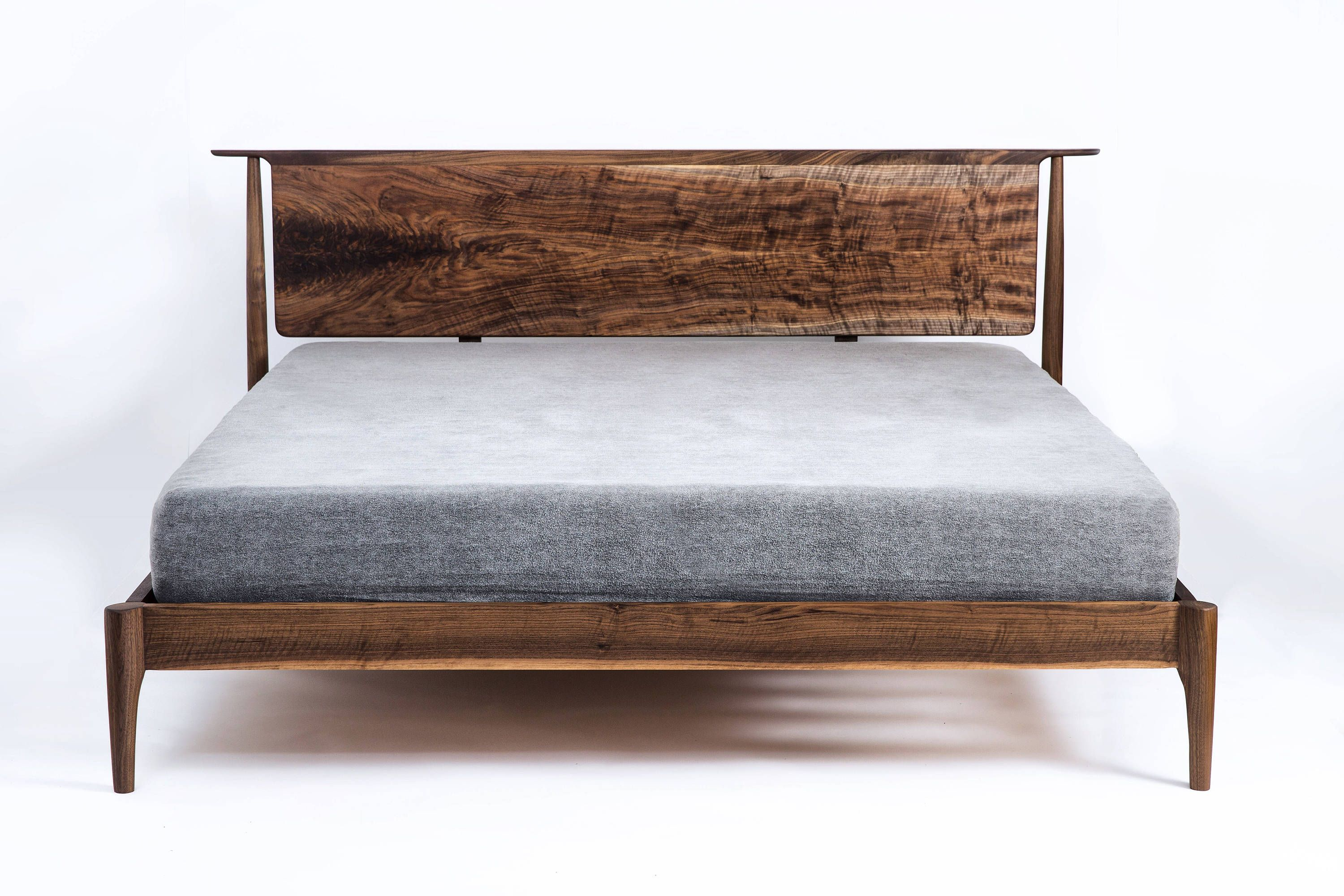 Modern Bed Walnut Bed Solid Wood Bed Platform Bed Mid Etsy Bed
