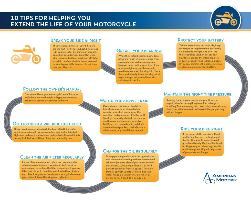10 Tips For Helping You Extend The Life Of Your Motorcycle Infographic American Modern Insurance Group Tire Safety Tips Owners Manuals