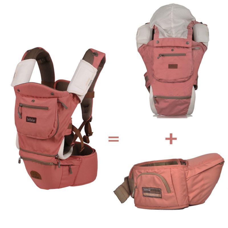cbba6060c272 Bebear de lujo 8 en 1 portador hipseat bebé ergonómico 360 mochila  portabebe honda mochila de bebé canguros para niños abrigo del bebé