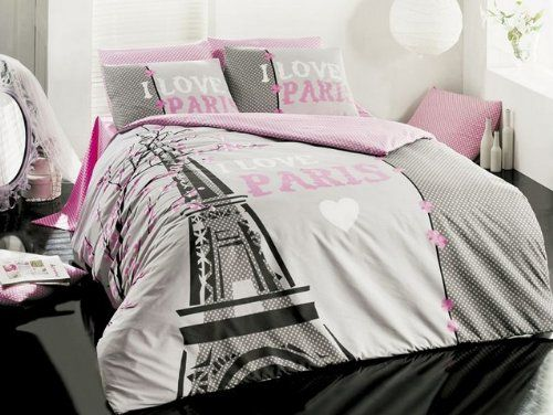 New Cotton 4pcs I Love Paris Double Size Duvet Cover Set Eiffel ...