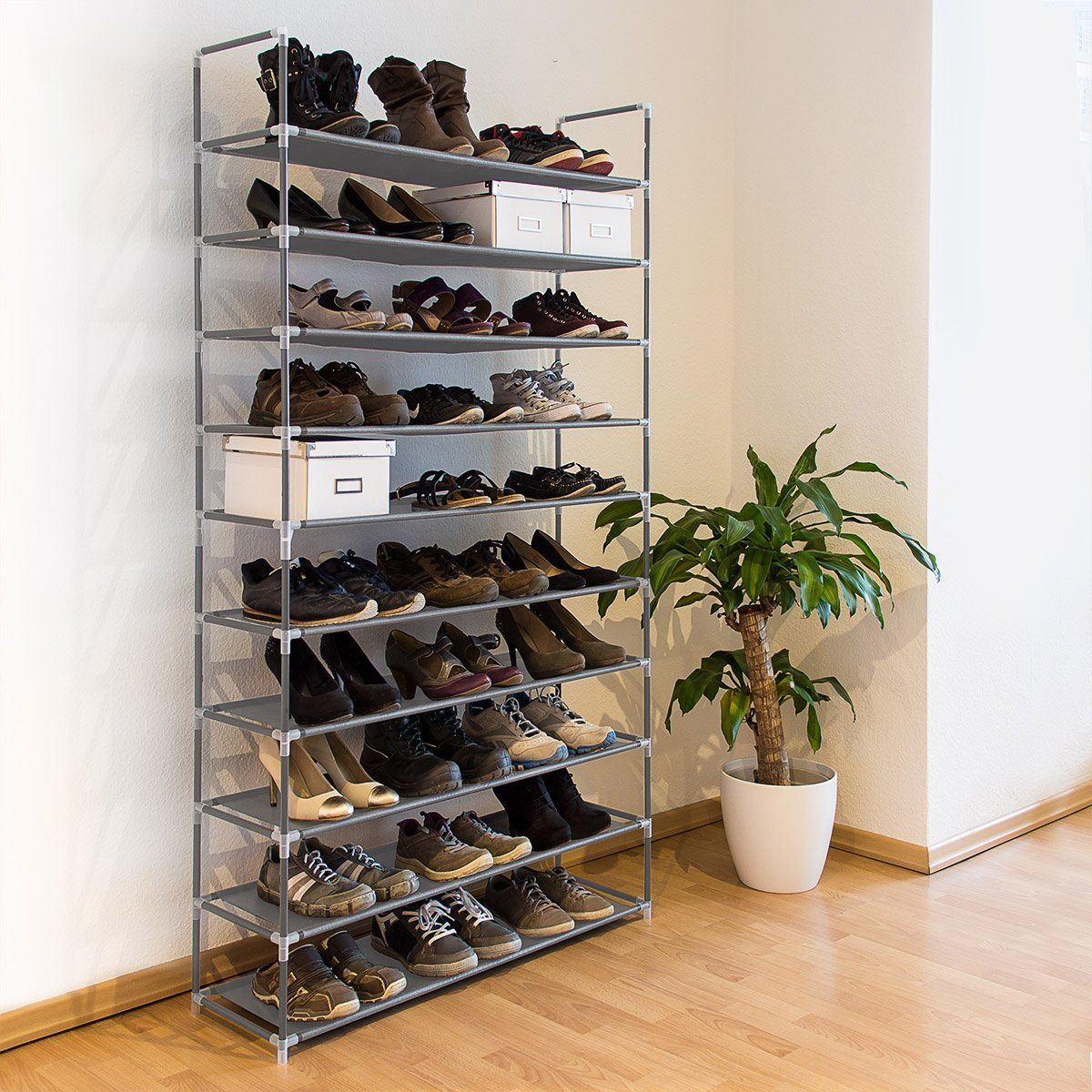 Relaxdays Shoe Shelf For 50 Pairs Of Shoes Xxl Fabric Amp Metal