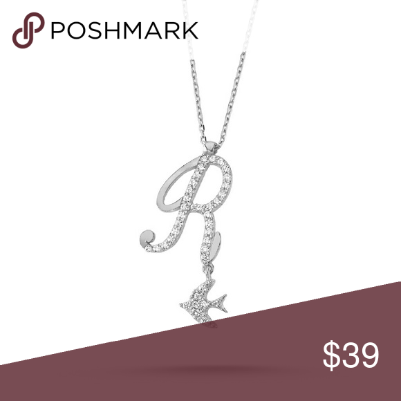 Sterling Silver 925 Initial R With Bird Sterling Silver Initial Silver Bird Pendant