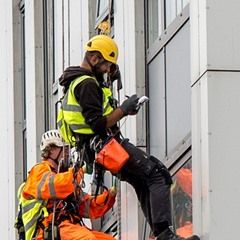 Workers abseil high rise buildings in North London to assess cladding