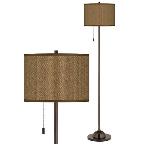 Khaki giclee glow bronze club floor lamp