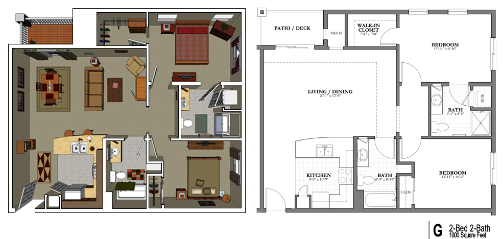 1000 sq ft floor plans 1000 sq ft apartment floor plans for Floor plans for 800 sq ft apartment