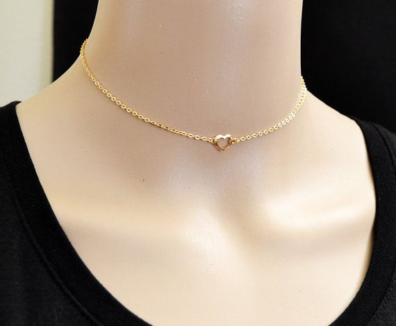 Tiny Heart Necklace 14 Inch Necklace 14k Gold Fill Dainty Gold Choker Tiny Gold Heart Necklace Tiny Heart Necklace Heart Necklace 14k Gold Filled Necklace