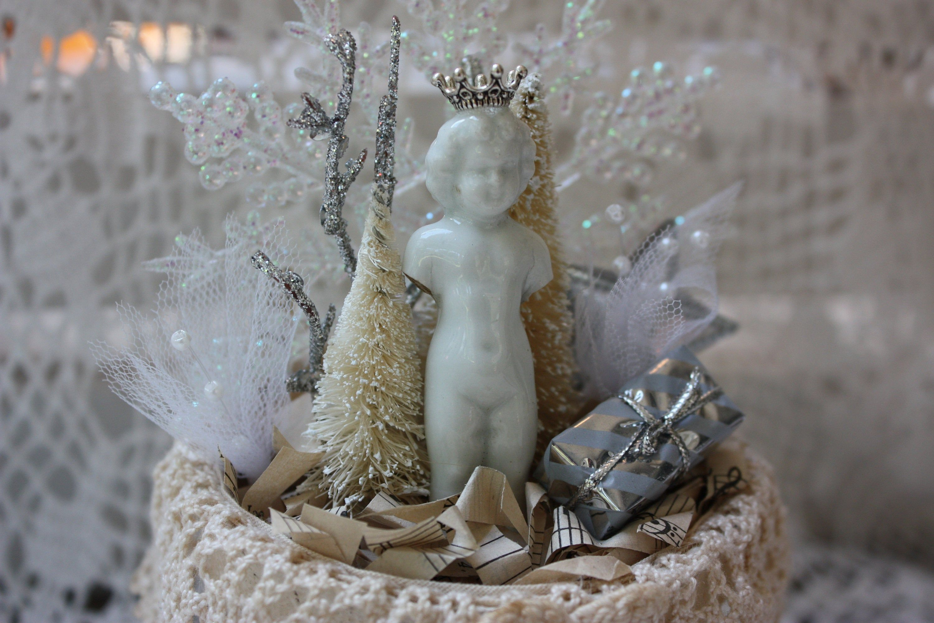 Frozen Charlotte Winter Assemblage Christmas Decor Crown Bottle Brush Tree Snowflake silver white holiday altered peat pot old lace brocante by GypsyGeneralStore on Etsy
