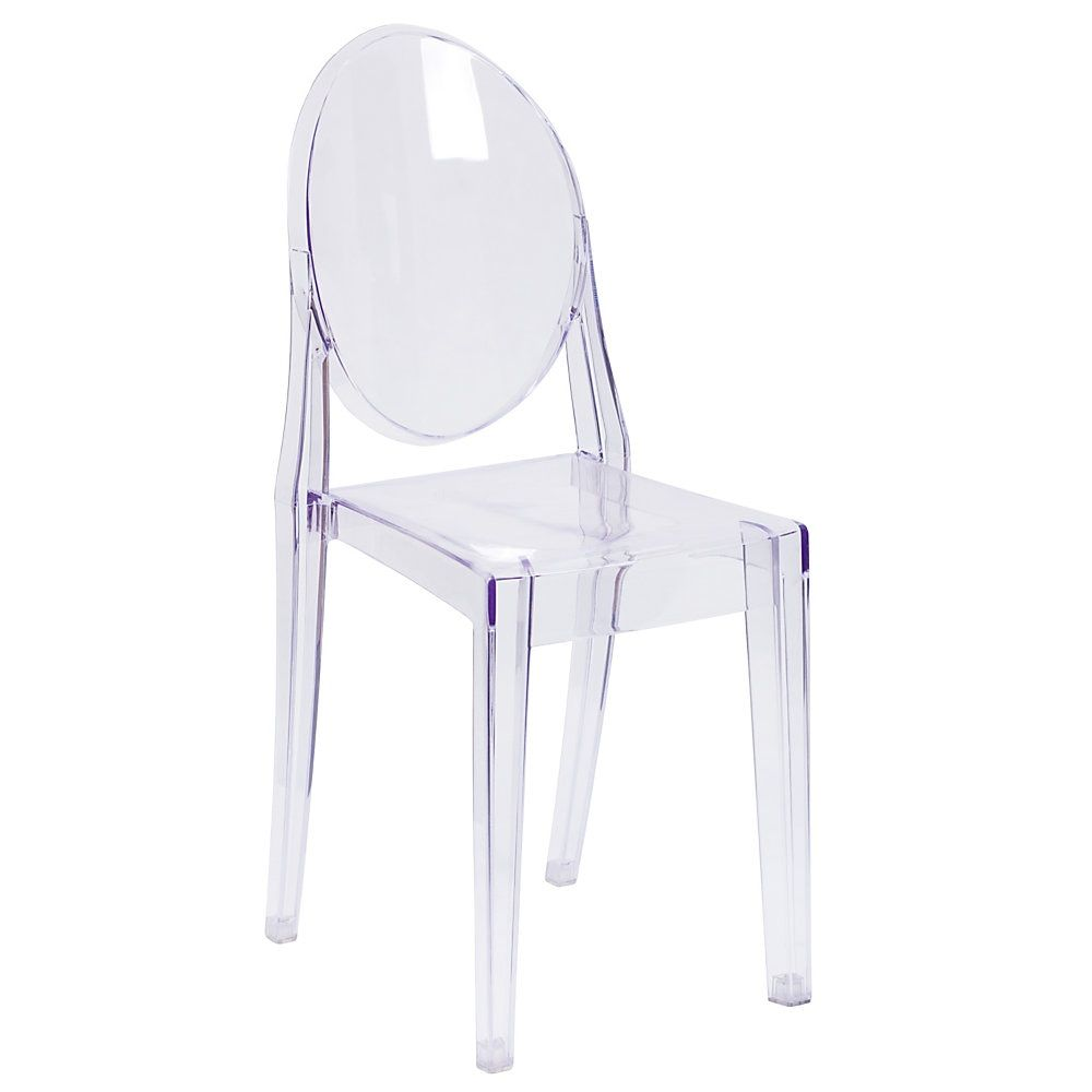 Flash Furniture Polycarbonate Stackable Ghost Side Chair Clear