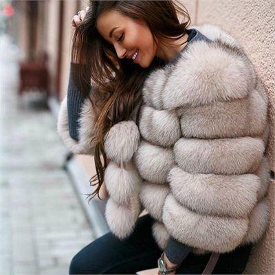 Fur Coats Women Fox Jacket, White Fox Fur Coat Outfit