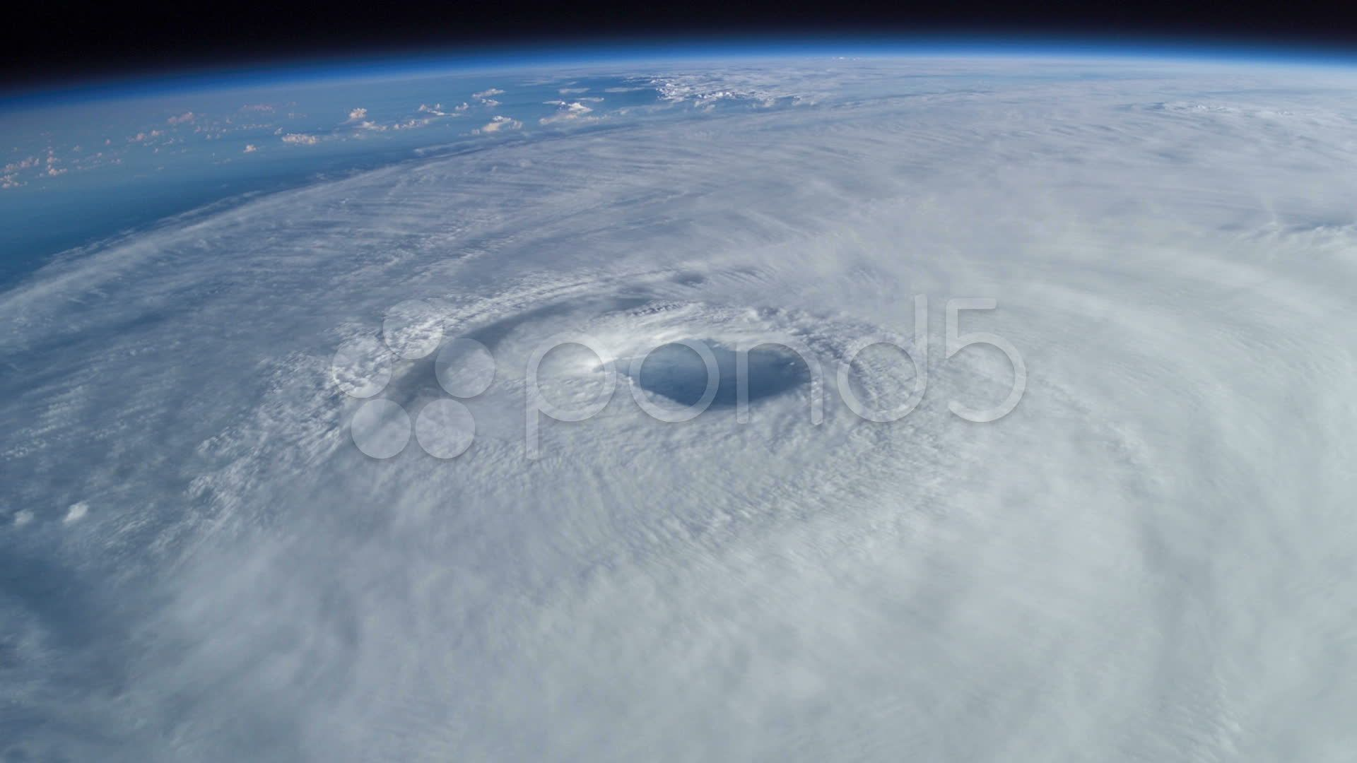 Huge Rotating Hurricane From Space With Visible Eye Stock Footage Hurricane Space Huge Rotating Hurricane Huge Stock Footage