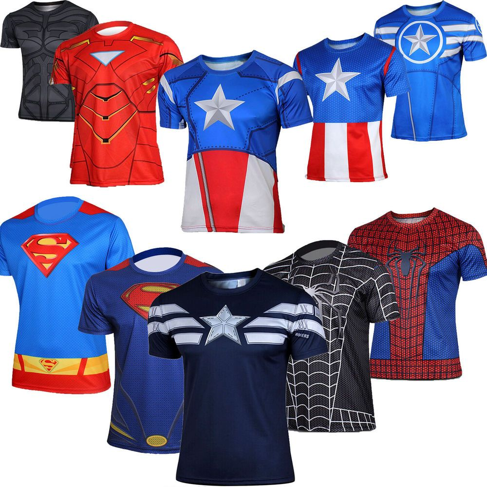 mens marvel comics superhero t shirt costume jersey tee. Black Bedroom Furniture Sets. Home Design Ideas
