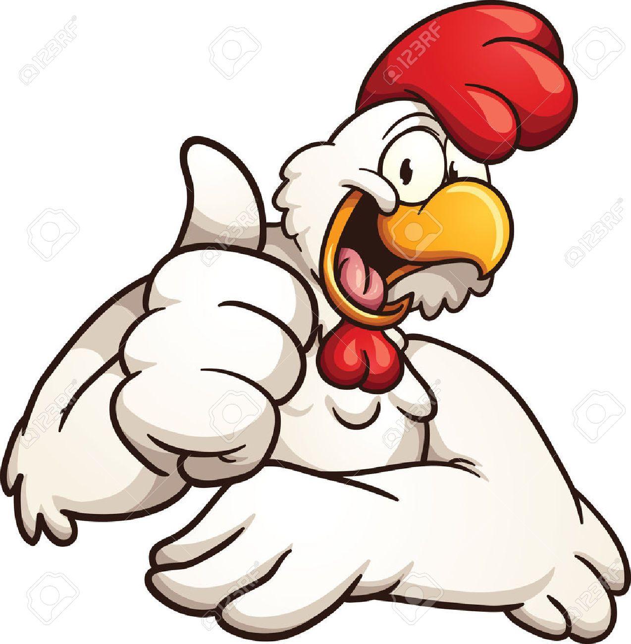 cartoon chicken giving the thumbs up vector clip art