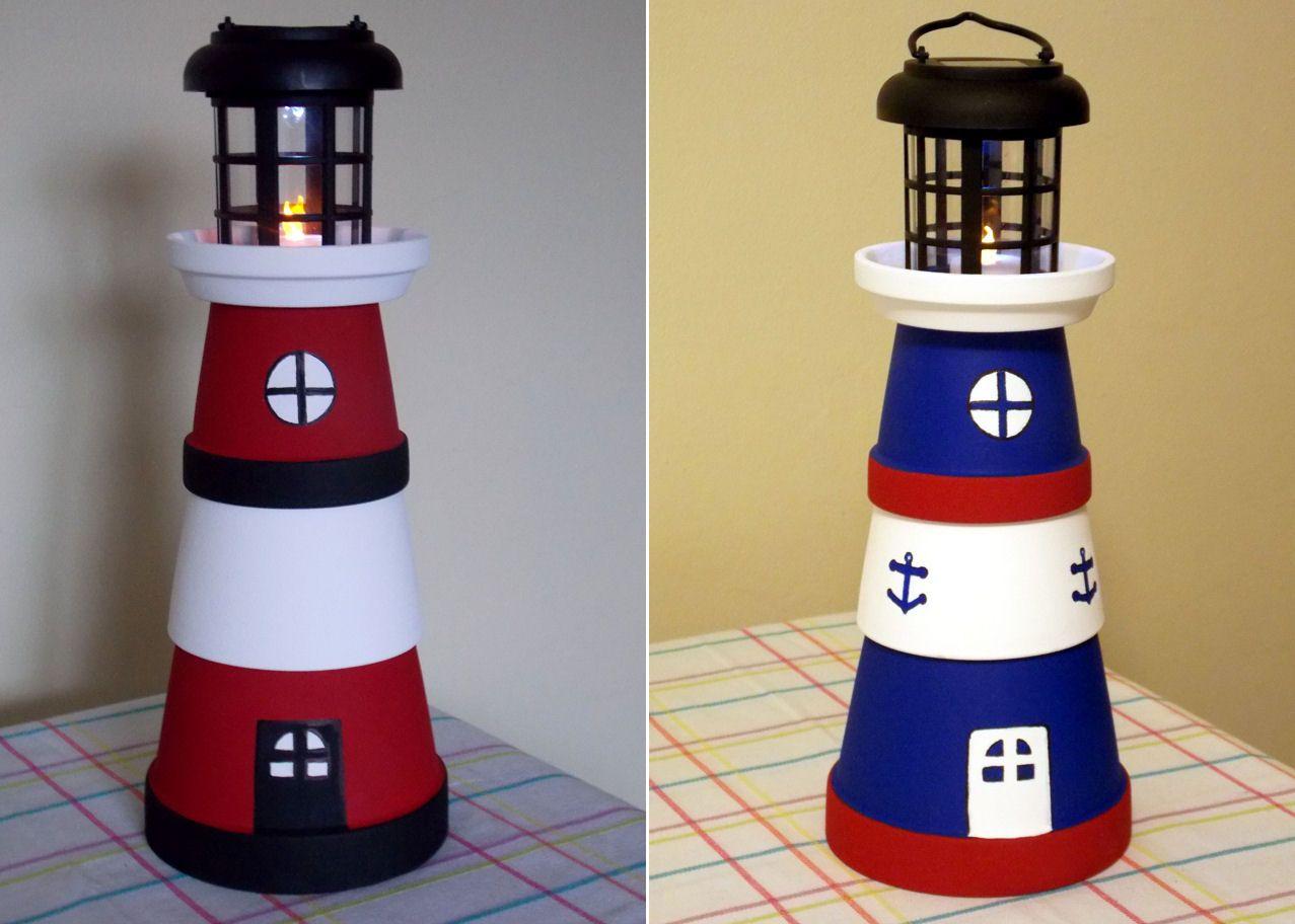 Diy make a clay pot lighthouse diy craft projects - Terra Pot Lighthouses Made From Various Size Terra Pots Dollar Store Solar Light And