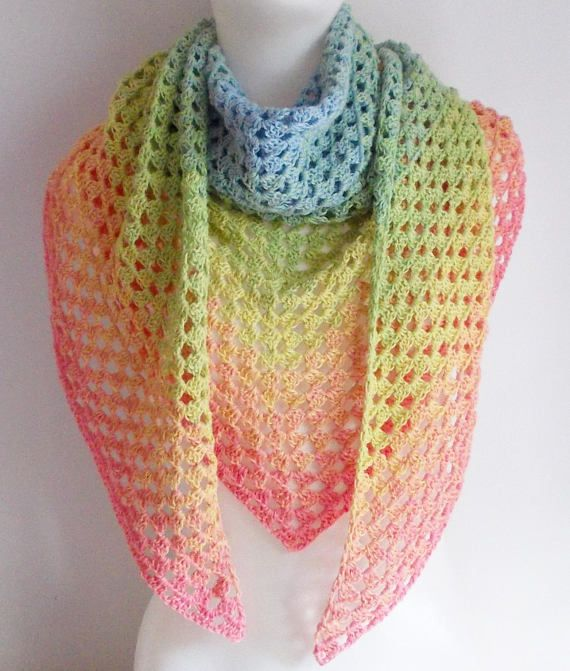 Extra Large Triangle Scarf Lace Colour Change Gradient Crochet