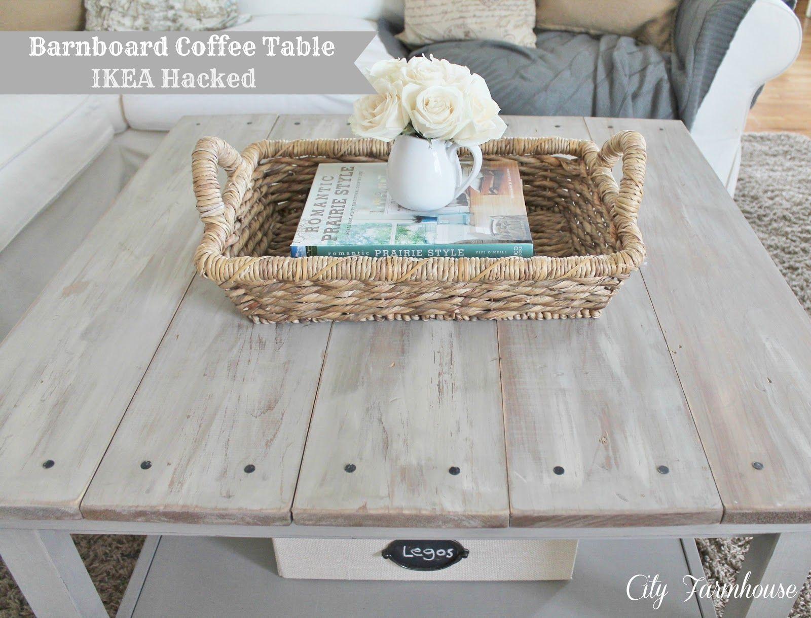 City Farmhouse Ikea Hacked Barnboard Coffee Table Tutorial Ikea Coffee Table Ikea Hack Furniture Makeover [ 1220 x 1600 Pixel ]