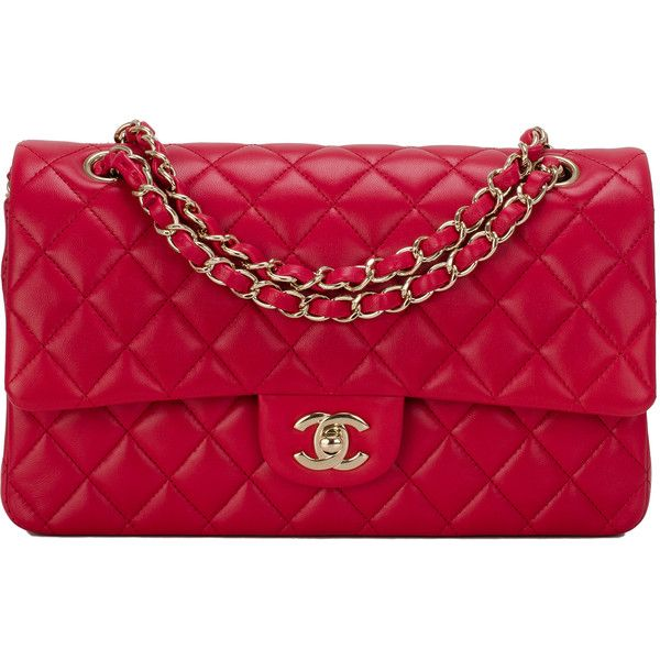 Pre-Owned Chanel Red Quilted Lambskin Medium Classic Double Flap Bag  ( 6 316dcbcc12b58
