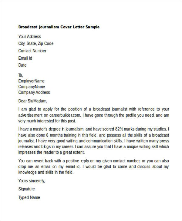Find Lovely Cover Letter Examples Journalism  You Must Try
