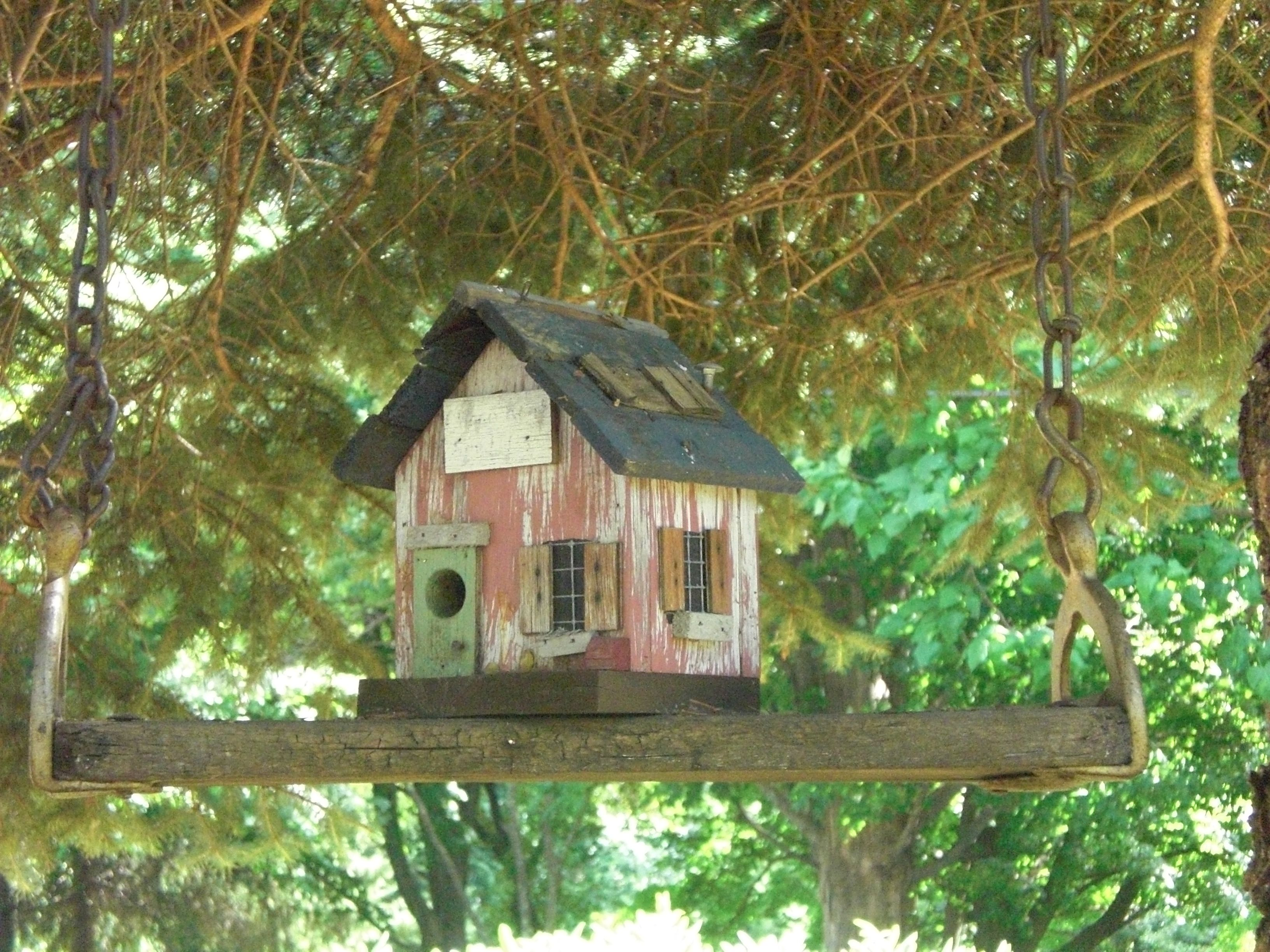 Old swing hung up high with bird house idea from hometownantiqueswb also rh pinterest
