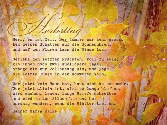 Das Melancholische Gedicht Herbstag Von Rainer Maria Rilke Eignet