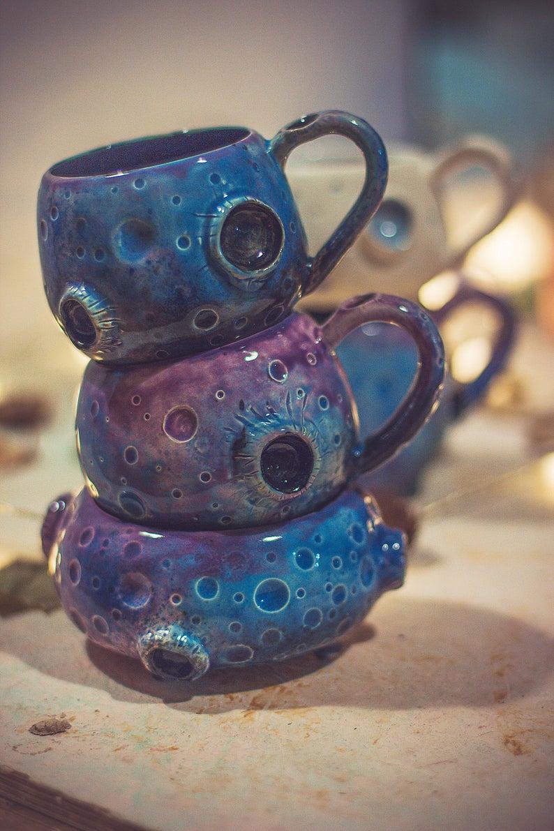 Moon handmade ceramic mug, galaxy colored large ceramic mug with stars, unusual gift for boyfriend