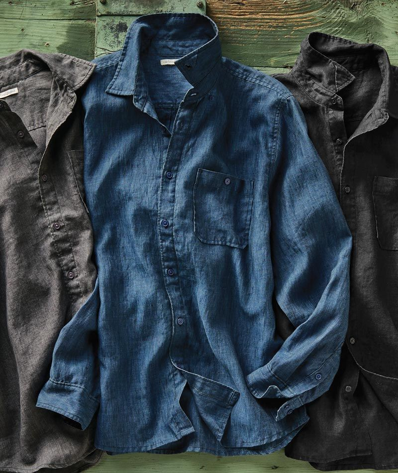 Men S Resonance Linen Shirt Made Of Refined Delave Linen This Shirt Resonates With Sophistication Thanks To Its Unexp Shirts Womens Denim Shirt Mens Outfits