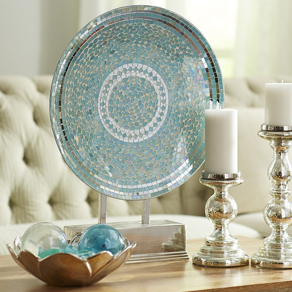 Large Decorative Plate With Stand Aqua Mosaic Platter With Stand  Pier 1 Imports  Mosaics And