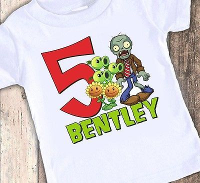 New Plants VS Zombies Personalized Birthday Custom T Shirt Party Favor