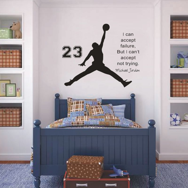 Inspirational Wall Sticker Quotes Basketball Vinyl Wall Decals Wall Mural  Art Kids Children Room Home Decor
