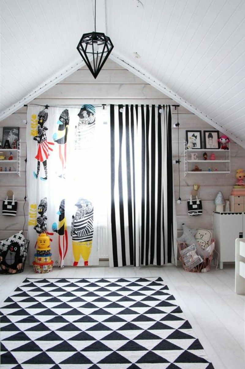 Kids Curtains And Wallpaper Pattern Black White Stripes