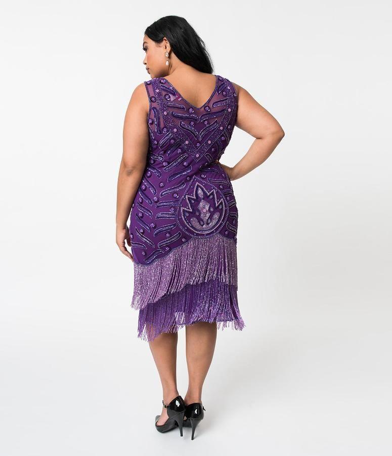 c17ef14c617 Plus Size 1920s Style Purple Beaded Fringe Sleeveless Hollywood ...