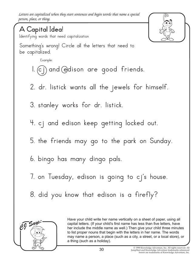 A Capital Idea Fun English Worksheets for Kids – Second Grade Grammar Worksheets