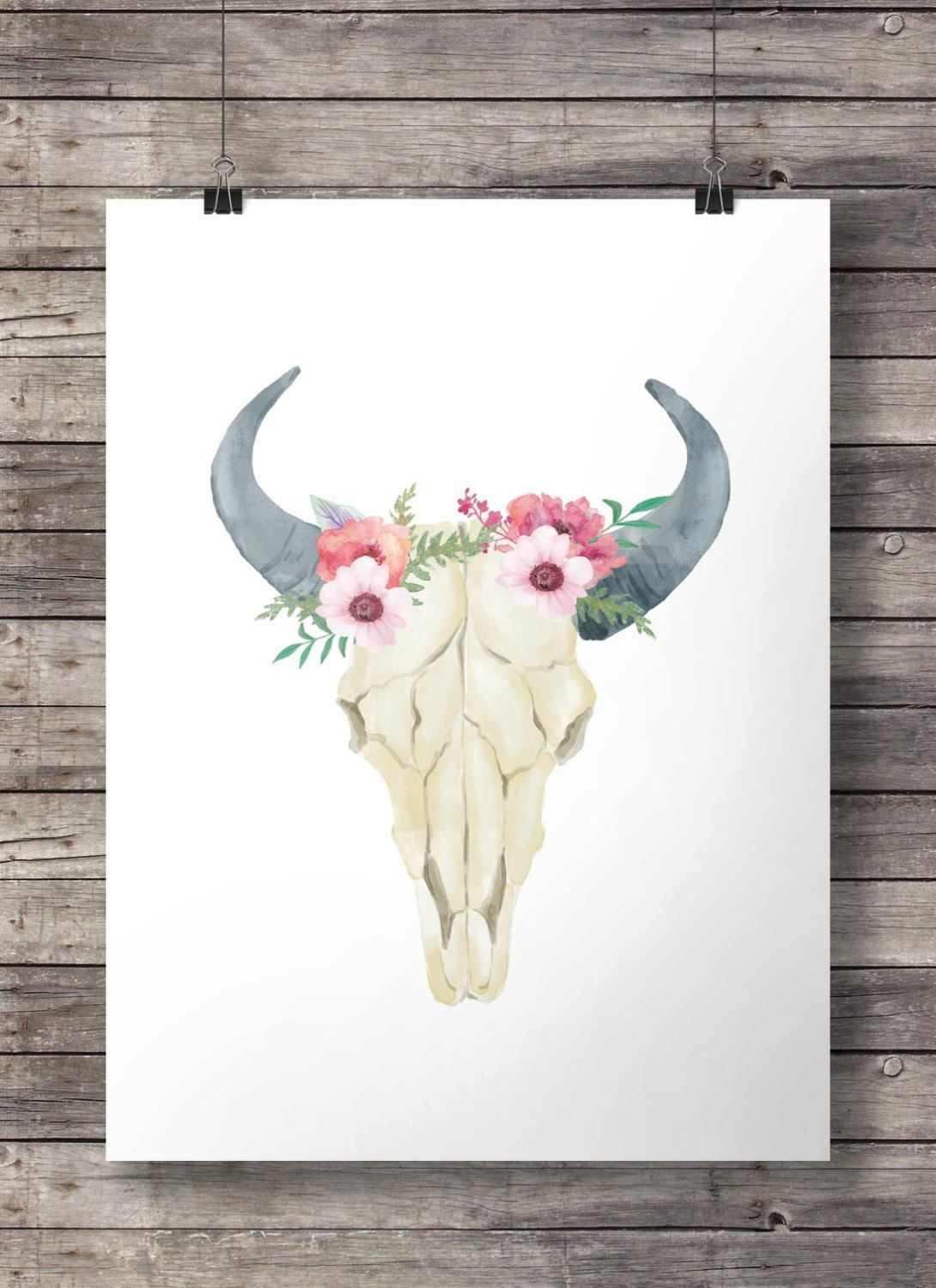Bull Skull Wall Decor cow skull, printable wall art, wall decor, feather, boho