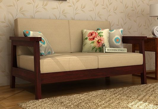 Get Conan 2 Seater Wooden Sofa Coming With Mahogany Finish If You Want To Be Minimalistic The Wooden 2seatersofa Wil With Images Wooden Sofa Wooden Sofa Designs Sofa Set
