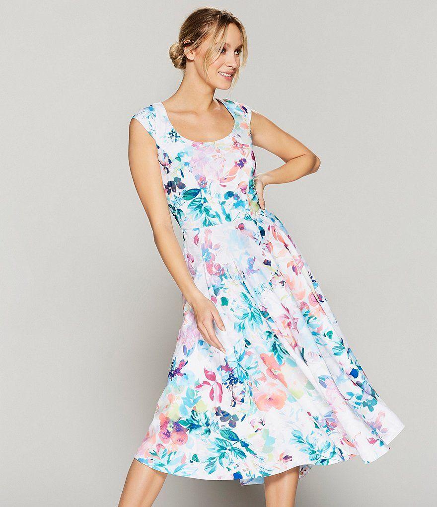 Floral Print Cap Sleeve Midi Dress in 2020 Midi dress