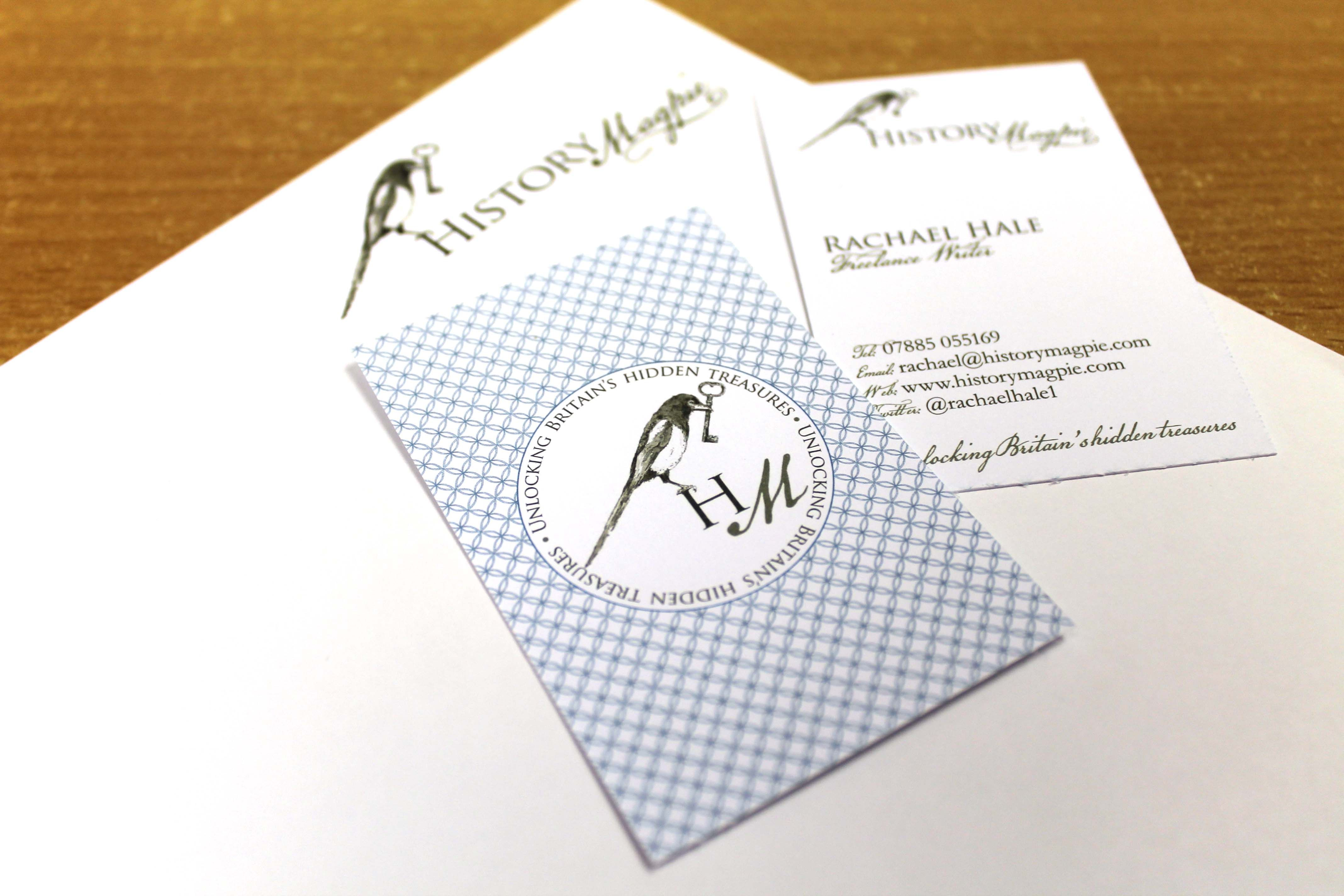 the history magpie logo design and business card design by ditto