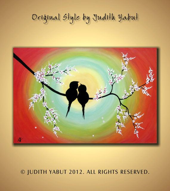 Wedding Gift Painting: ORIGINAL Love Birds Painting, Large Canvas Ready To Hang