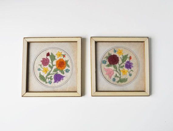 Set Of 2 Vintage Framed Floral Embroidery Pictures 2 Things